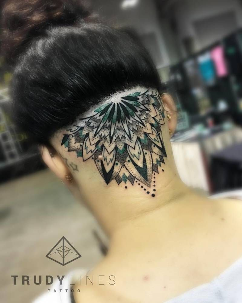 Half mandala tattoo on the back of the head done at