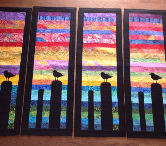 Batik Quilted  table-runner or wall hanging. Lake Erie inspired