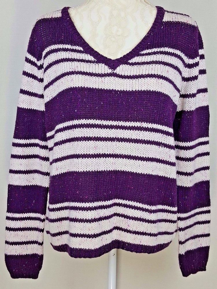 Womens St.Johns Bay Purple White striped Long Sleeve V-Neck ...
