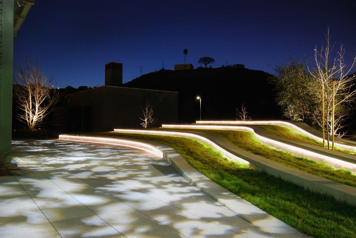 Exterior Projected Light Linear Light Open Space Gobo