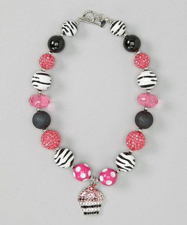 Another great find on #zulily! Hot Pink & Black Cupcake Necklace by Diva Daze #zulilyfinds