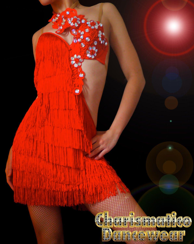 CHARISMATICO Custom RED SAMBA CHa CHA FRINGE Crystal salsa latin dance dress