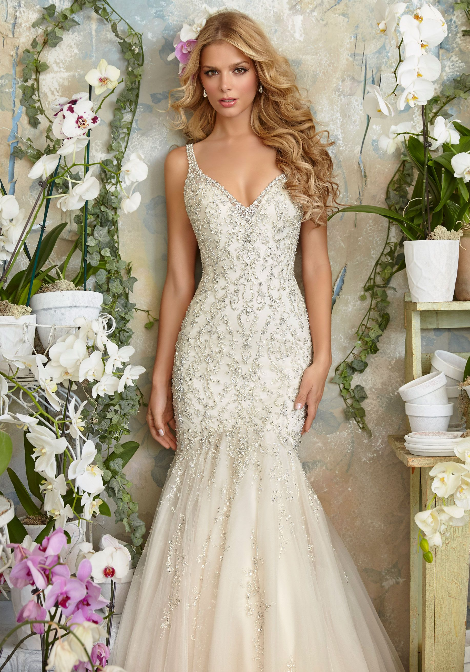 2823 intricate crystal beaded embroidery on the tulle for Ivory mermaid wedding dresses