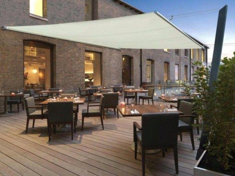 Terrasse En Bois Avec Meubles De Jardin Et Voile Du0027ombrage Rectangulaire R  310 Velacube Idees
