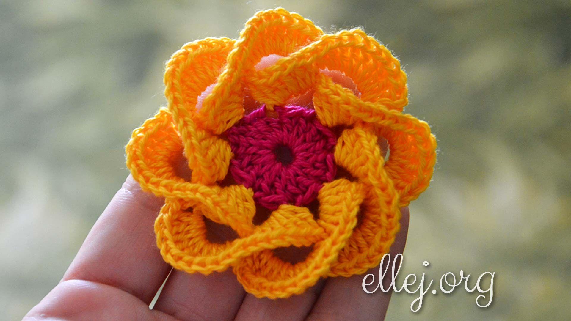 Crochet 3D Flower | Pinterest | Blumen häkeln, Kleinigkeiten und Blumen