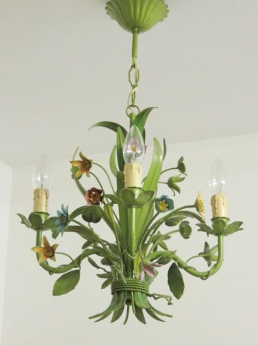 Rare vintage french tole chandelier toleware floral light rare vintage french tole chandelier toleware floral light lampadario fiori mozeypictures Image collections