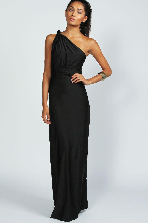 Black twisted one shoulder maxi dress at boohoo cruisin