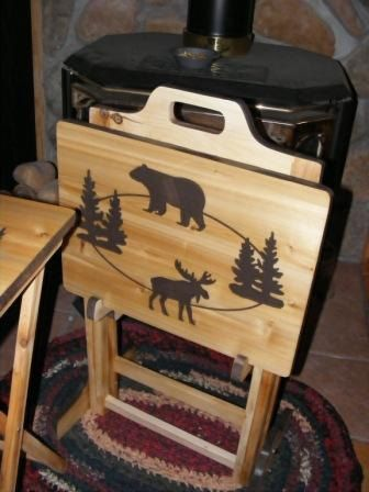 Set Of Two Wood TV Tray Tables And Rack Moose And Bear Pine Trees Hand Made  Design Rustic Cabin Decor