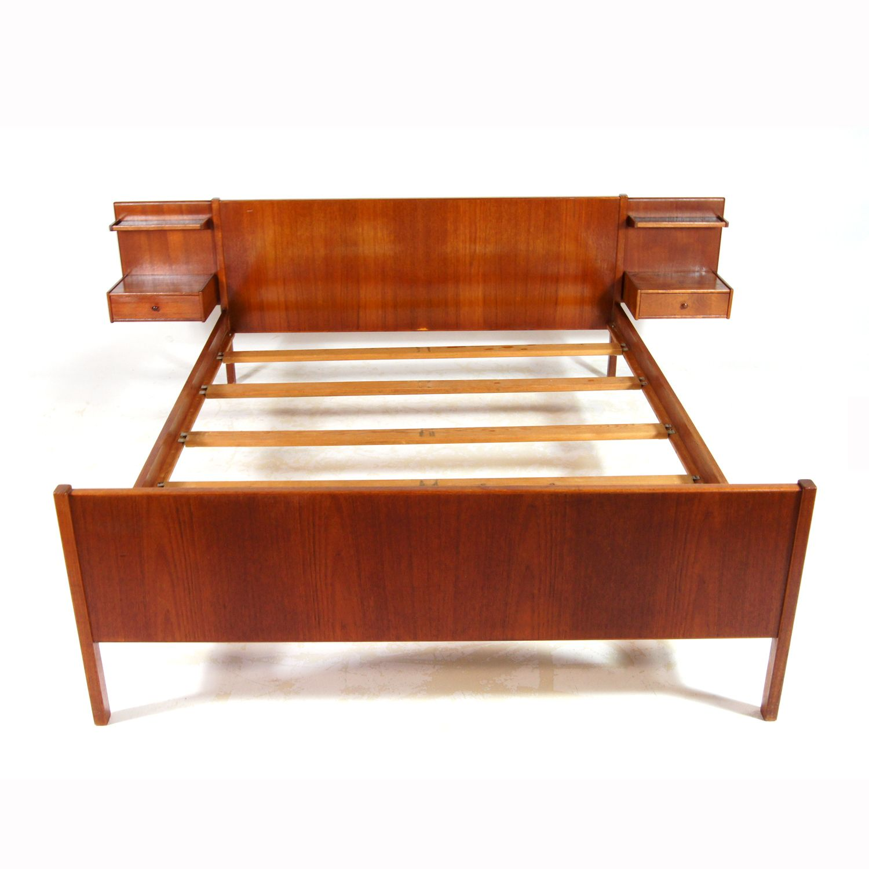 Retro Vintage Danish Design Teak Double Bed Frame Bedside Cabinets 50s 60s 70s Vintage Bed Frame Bed Frame Retro Bed