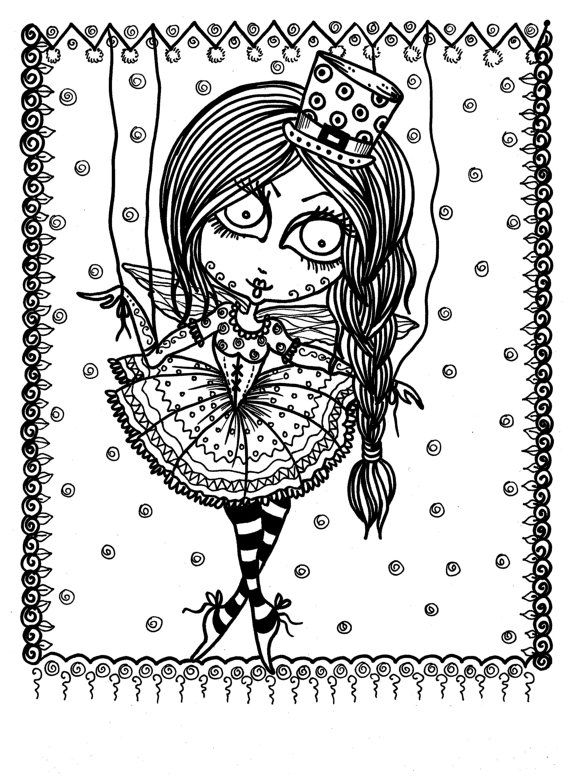 5 pages Downloadable Coloring Book Pages Funky Fairy Ballerinas ...