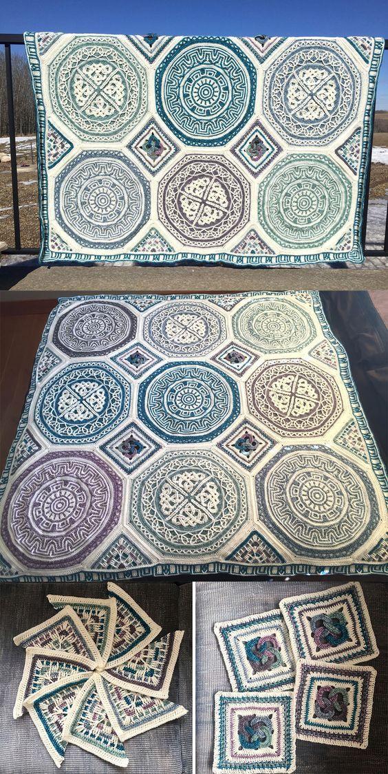 About Labyrinth Celtic mandala blanket | Decken, Häkeln und Stricken ...