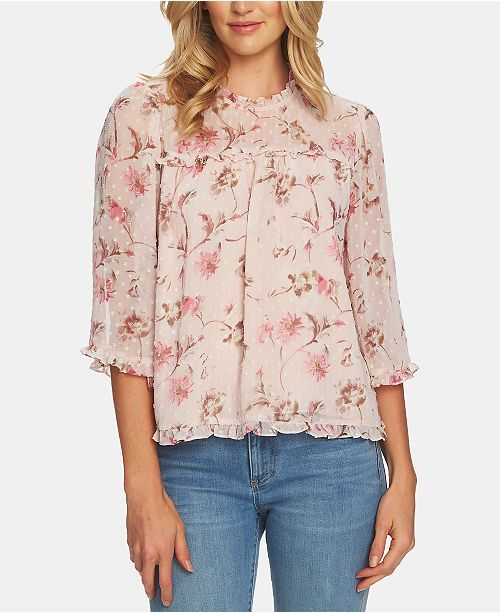 08f88ef6 CeCe Floral-Print Ruffled Top in 2019 | Shirts | Ruffle blouse ...