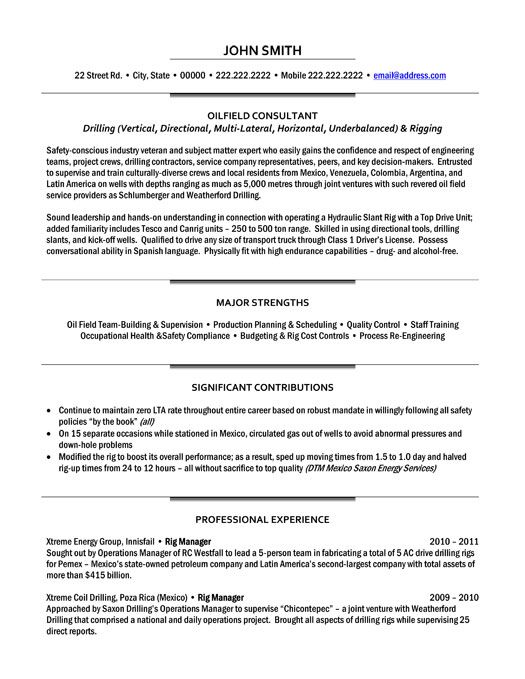 Click Here to Download this Oilfield Consultant Resume Template - Drill Rig Operator Sample Resume