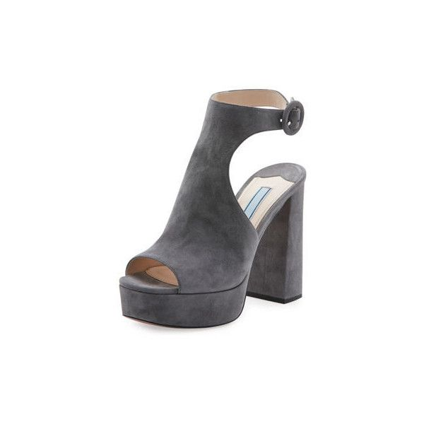 Prada Suede Ankle-Wrap 115mm Sandal (€355) ❤ liked on Polyvore featuring shoes, sandals, medium gray, adjustable strap sandals, strap sandals, buckle sandals, grey sandals and block heel sandals