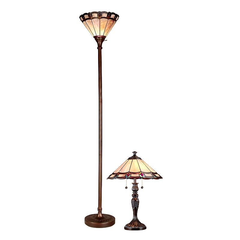 Dale Tiffany 2 Pc Pea Torchiere Floor Table Lamp Set