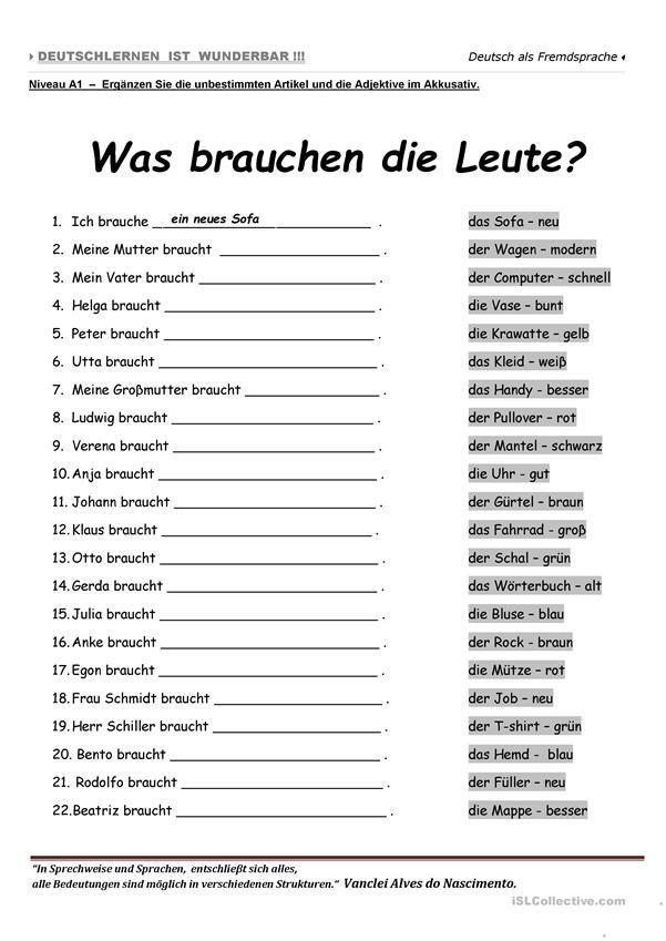 a1 was brauchen die leute german deutsch german grammar german language learning. Black Bedroom Furniture Sets. Home Design Ideas