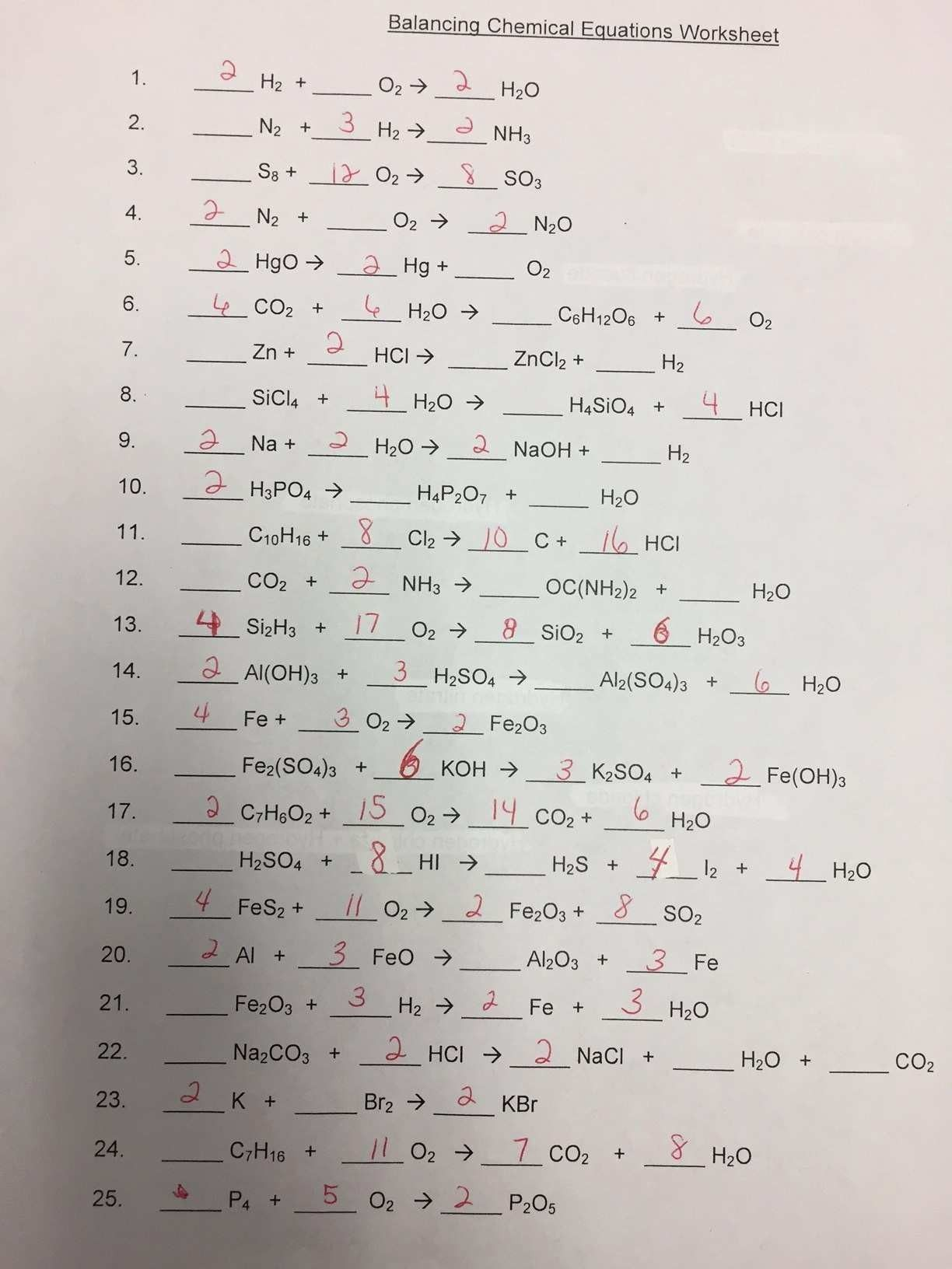 New Balancing Chemical Equations Worksheet Answers