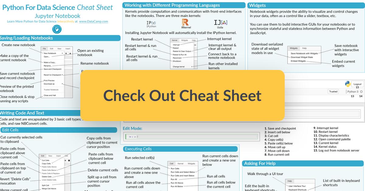 Jupyter Notebook Cheat Sheet Data Science Cheat Sheets Teaching