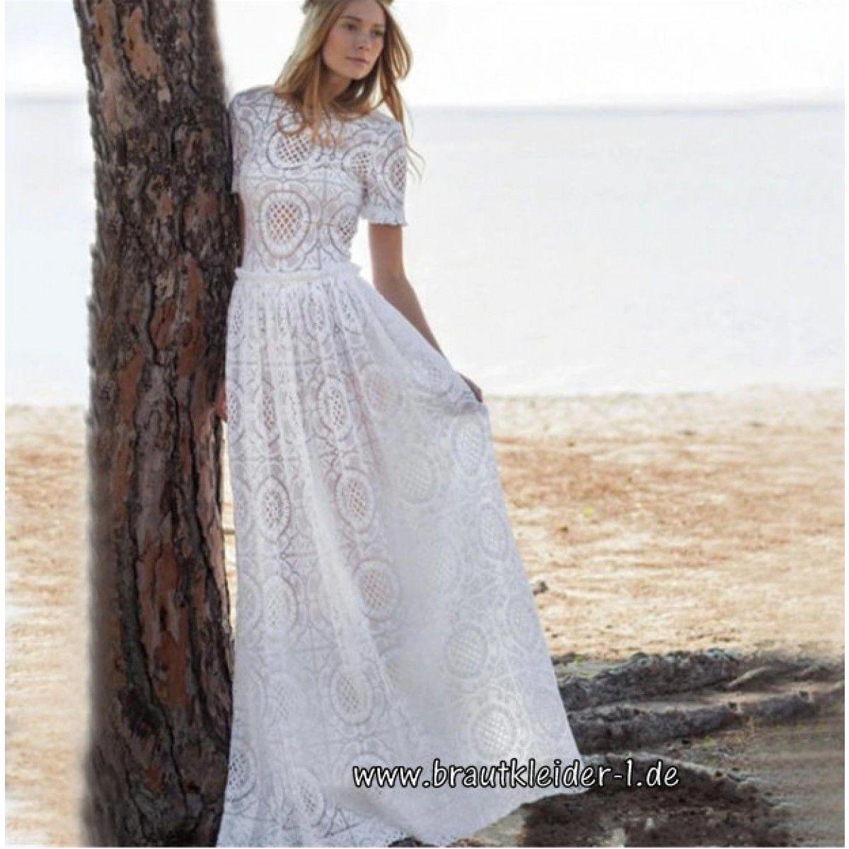 Langes Spitzenkleid Boho Kleid für den Standesamt mit Ärmel in