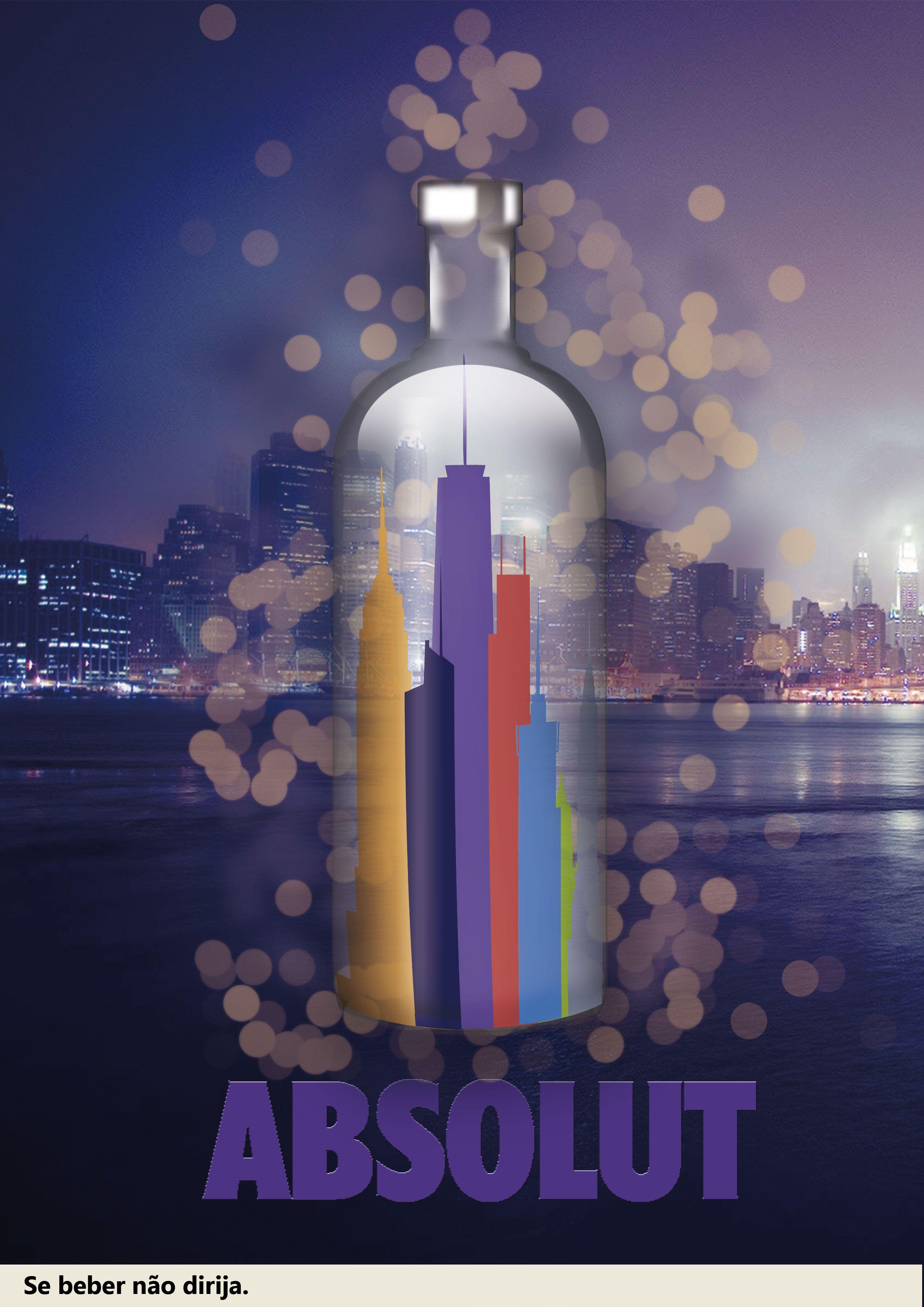 Garrafa de Vodka Absolut criada na aula de tratamento de imagem.