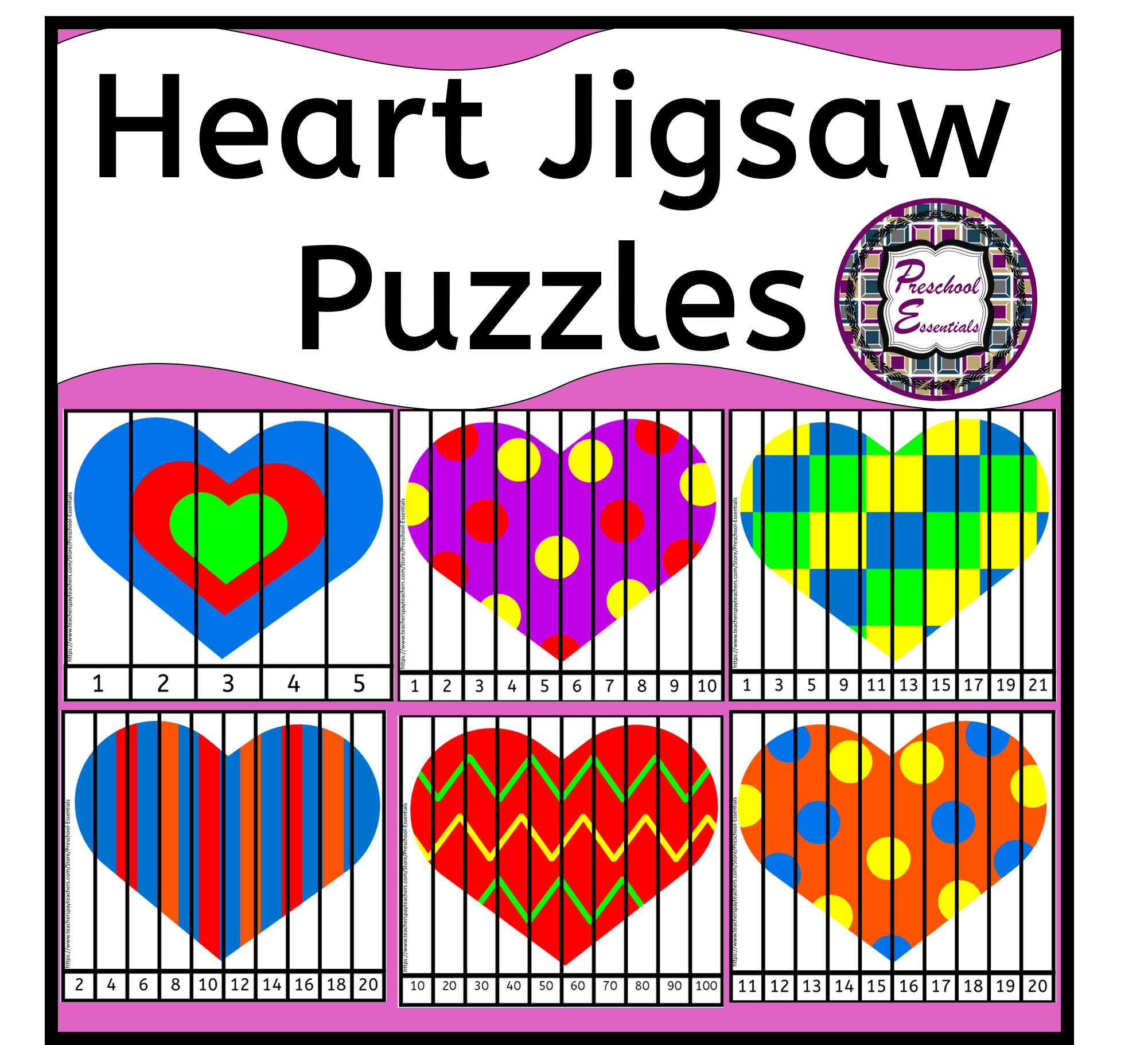 Heart Number Jigsaw Puzzles In
