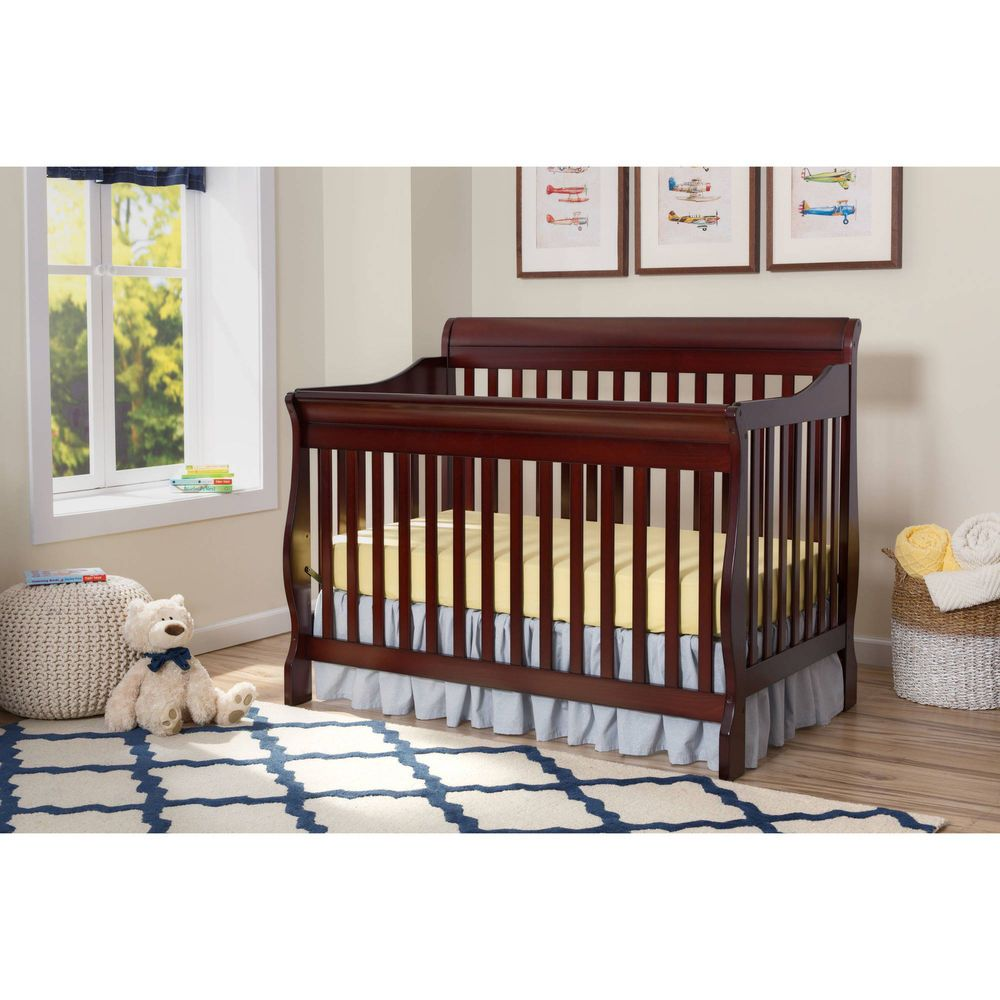 4 In 1 Convertible Baby Crib Toddler Kids Nursery Wood Bed Furniture Child Room