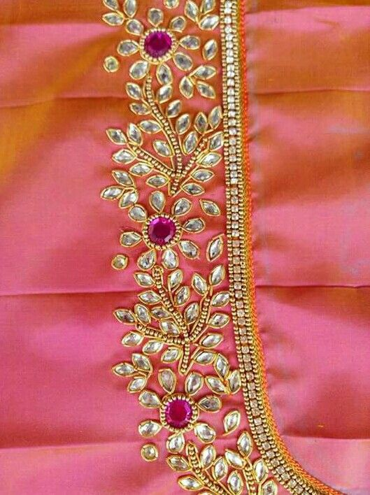 Neck design also embroidery work blouse designs bridal rh pinterest