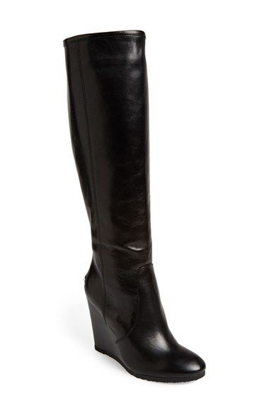 black leather wedge boots knee high