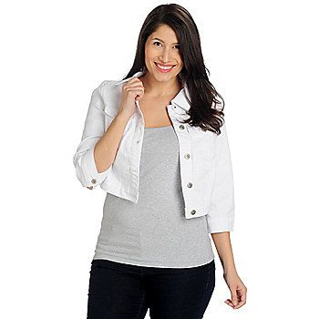 One World Stretch Denim 3/4 Sleeved Button Front Cropped Jacket