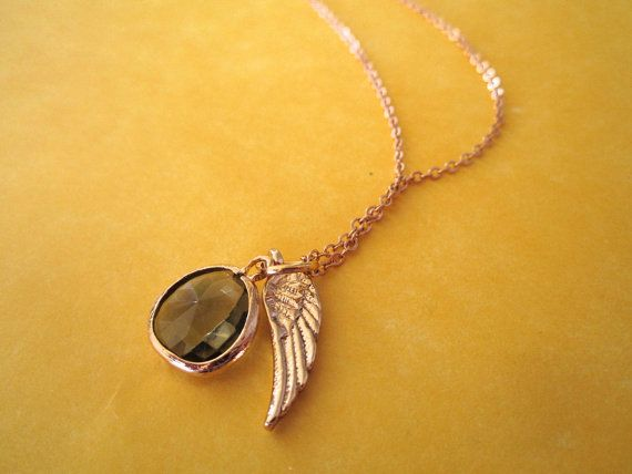 Lagoon Green Glass Pendant with Tiny Gold Feather by waydownhere, $16.00
