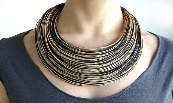 Declaracion Fibra Collar Collar Del Algodon Por Superlittlecute Joyeria Artesanal Collares Bisuteria