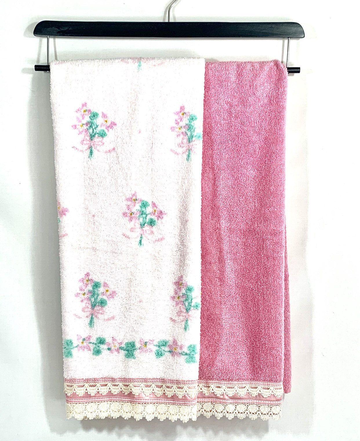 Pink Floral Bath Towel Set Vintage Dundee Crochet Lace Trim