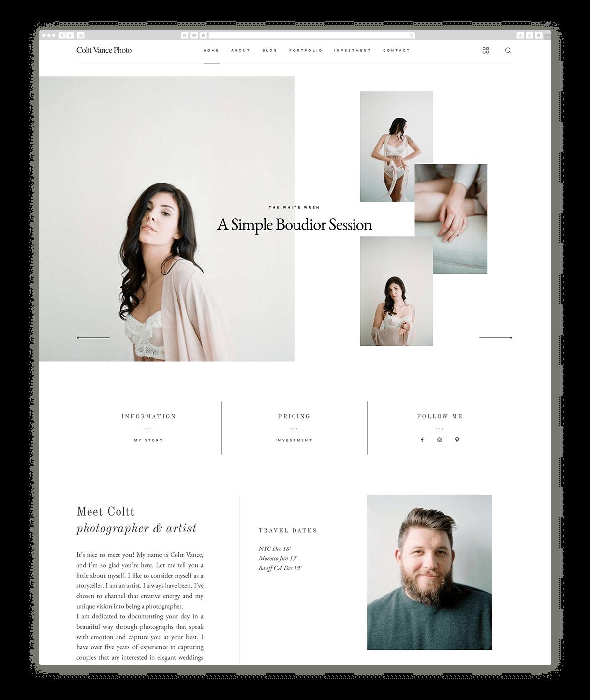 10 Fantastic Photography Websites Built With Narcisse Flothemes Minimalist Web Design Elegant Website Design Photography Website