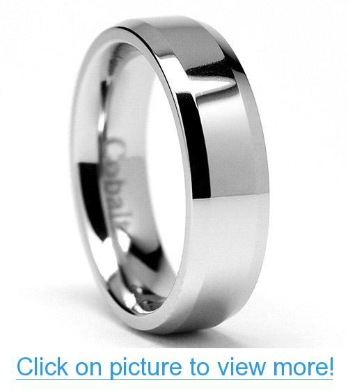 7MM Cobalt Chrome Mens Wedding Band Ring with Beveled Edges Comfort Fit Sizes 7 to 12