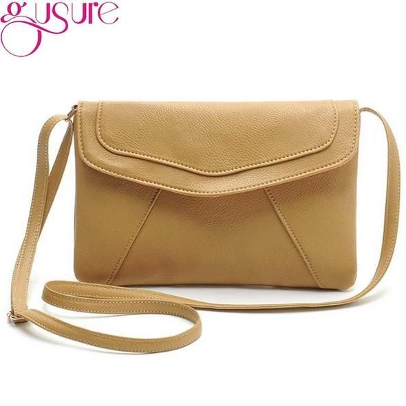Gusure vintage leather handbag hotsale women wedding clutch ladies party  purse famous designer crossbody shoulder messenger 8410970b40e64