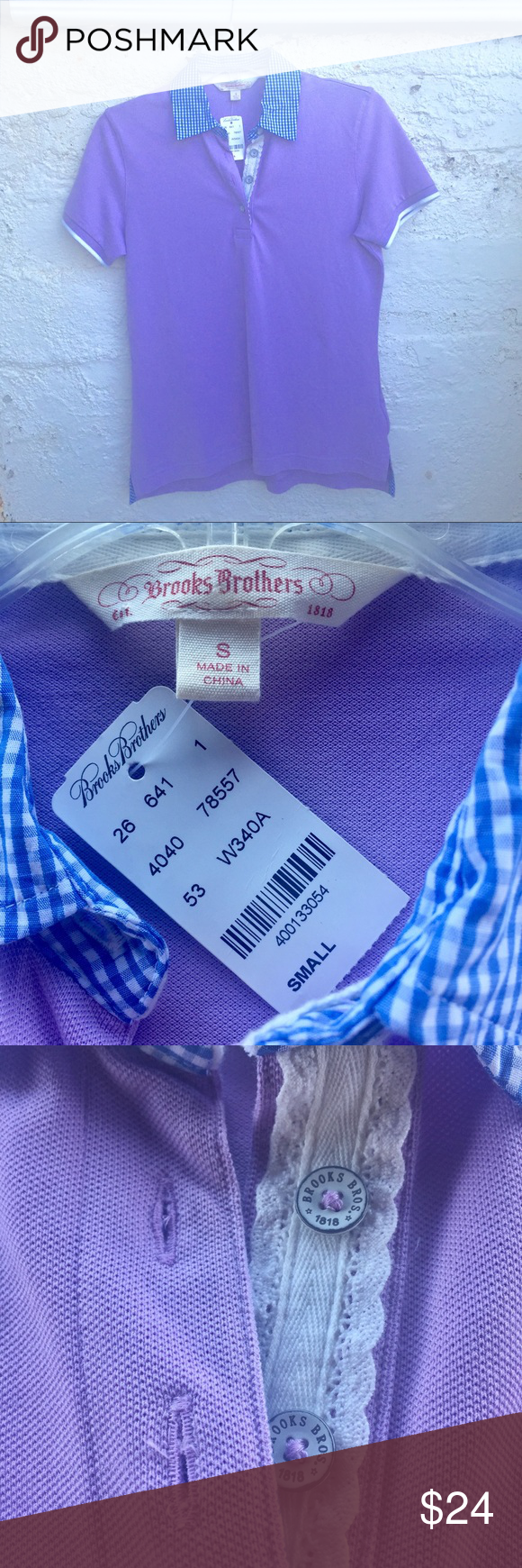 "Brooks Bros - Lavender w/Blue Gingham Collared Top 💜Pretty lavender polo with details: blue gingham checked collar and lined side slits, white piping around the sleeve, lace beneath buttons, 96% cotton, 4% spandex, ~18"" across the bust and ~24"" from shoulder to hem. Thank you for visiting my closet❣️ Brooks Brothers Tops"