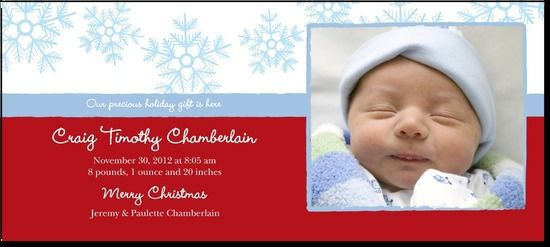 Birth announcement...Snowflake Blooms: Boy:Blue