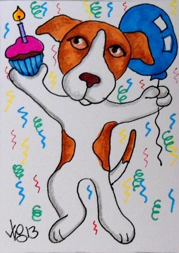 aceo jack russell birthday dog on ebay