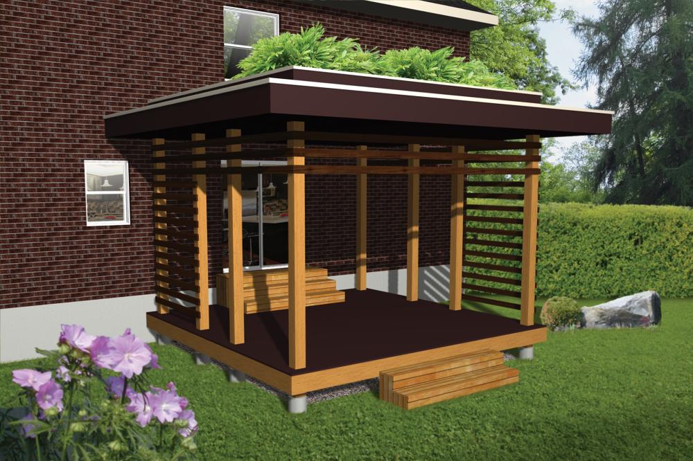 d allure branch e avec son toit v g tal et ses brise vue sur les c t s cette terrasse en bois. Black Bedroom Furniture Sets. Home Design Ideas