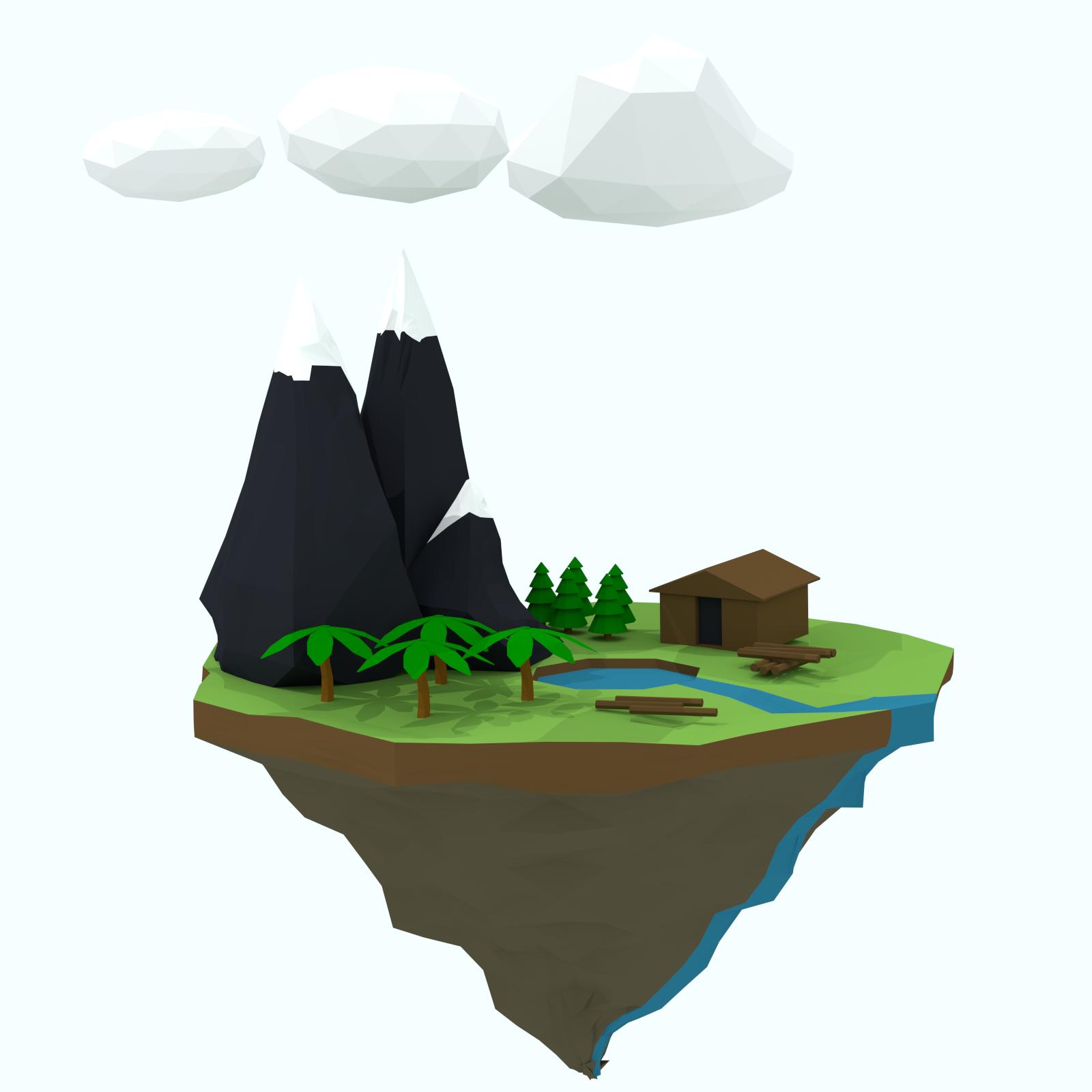 3d Lowpoly Floating Island 3d Design Design Baby Mobile