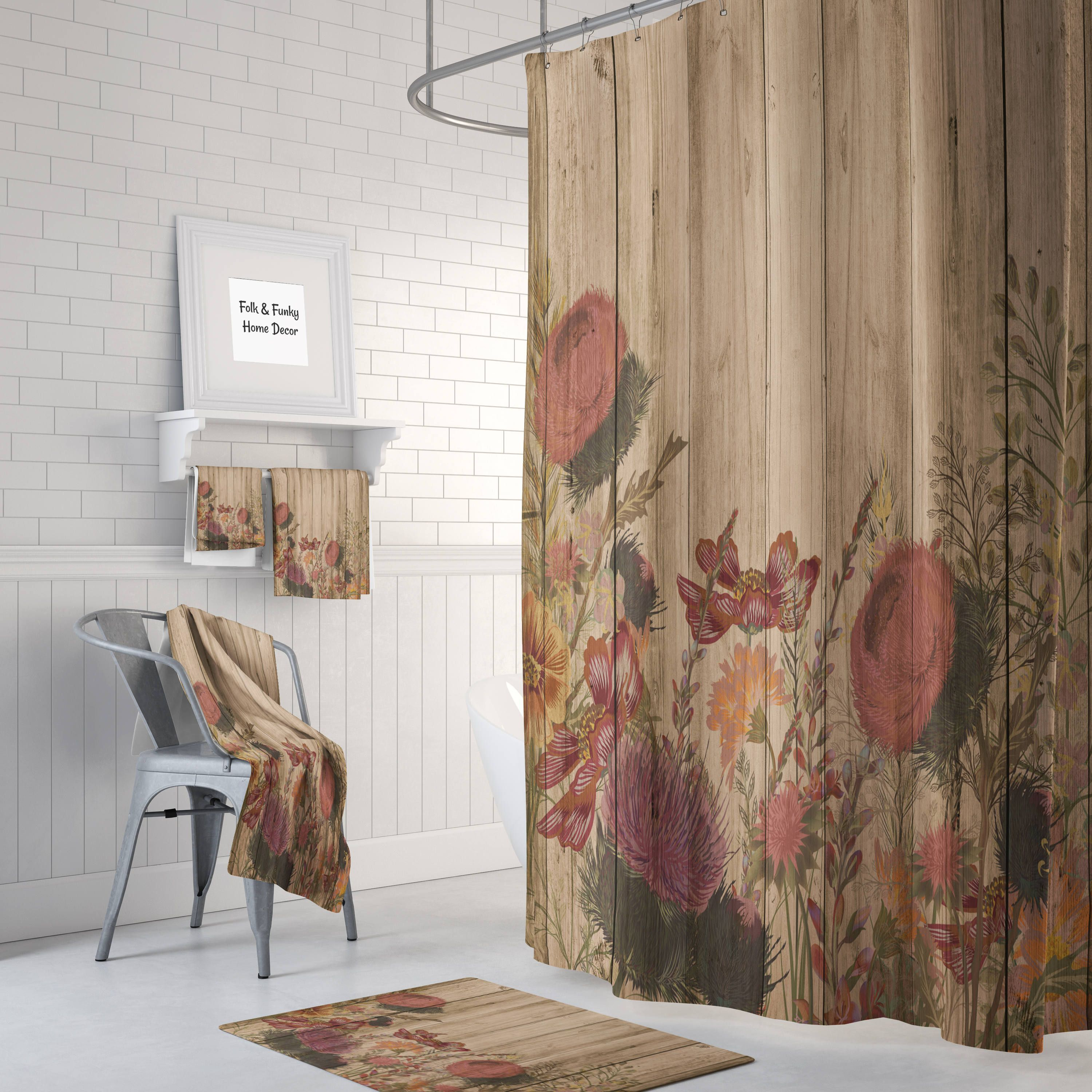 Rustic Wildflower Shower Curtain Rustic Home Decor Etsy Rustic