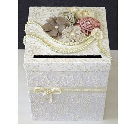 Vintage Wedding Card Box White Ivory Lace Neutral Flowers Pearls Single Tier