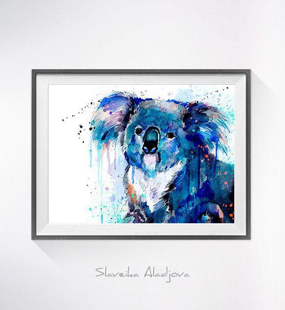 Koala-Aquarell drucken Koala-Kunst tierischen von SlaviART auf Etsy