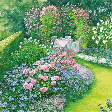 zum nachpflanzen ein bl hendes beet mit rosen und stauden garten pinterest garten. Black Bedroom Furniture Sets. Home Design Ideas