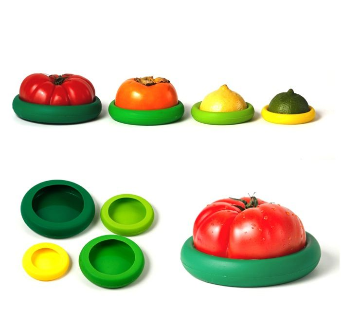 Save food and your money with the Food Huggers in Fresh Greens! Green is not your color? Check out our other  color palettes, Autumn Harvest, Bright Berry and Juicy Citrus. A set of four Food Huggers $19