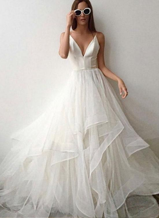White v neck tulle long prom dress 61c2a3096