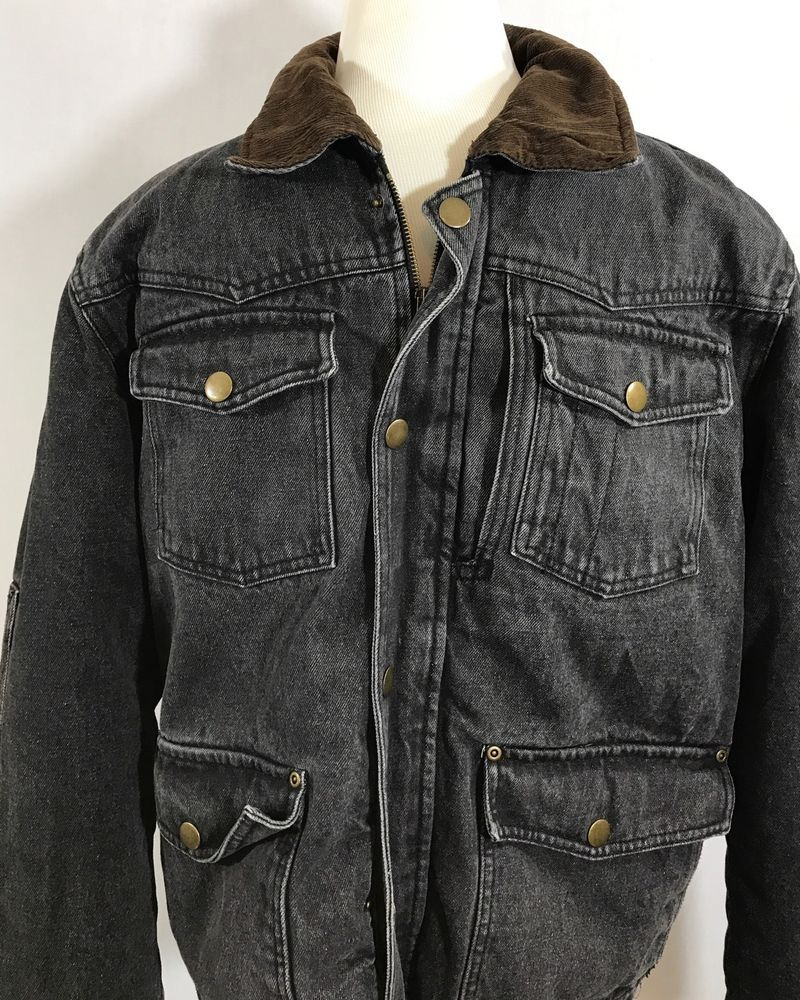 Denim Trucker Wrangler Fleece Sherpa Lined Barn Jacket Black Pockets Denim Jackets Sherpa Lined [ 1000 x 800 Pixel ]