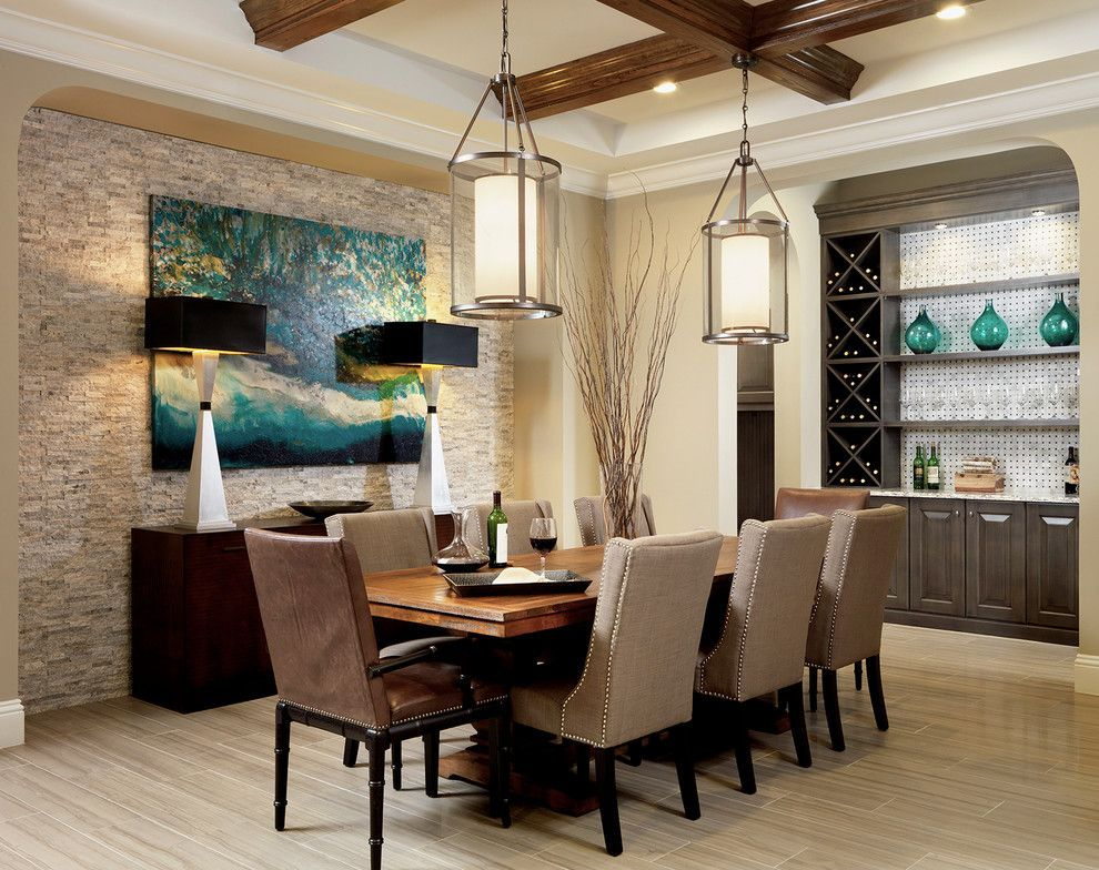 This Showstopping Dining Room Illustrates The Best Of Transitional Style By Combining More Rustic Elements Ceiling Beams Stone Wall With Contemporary