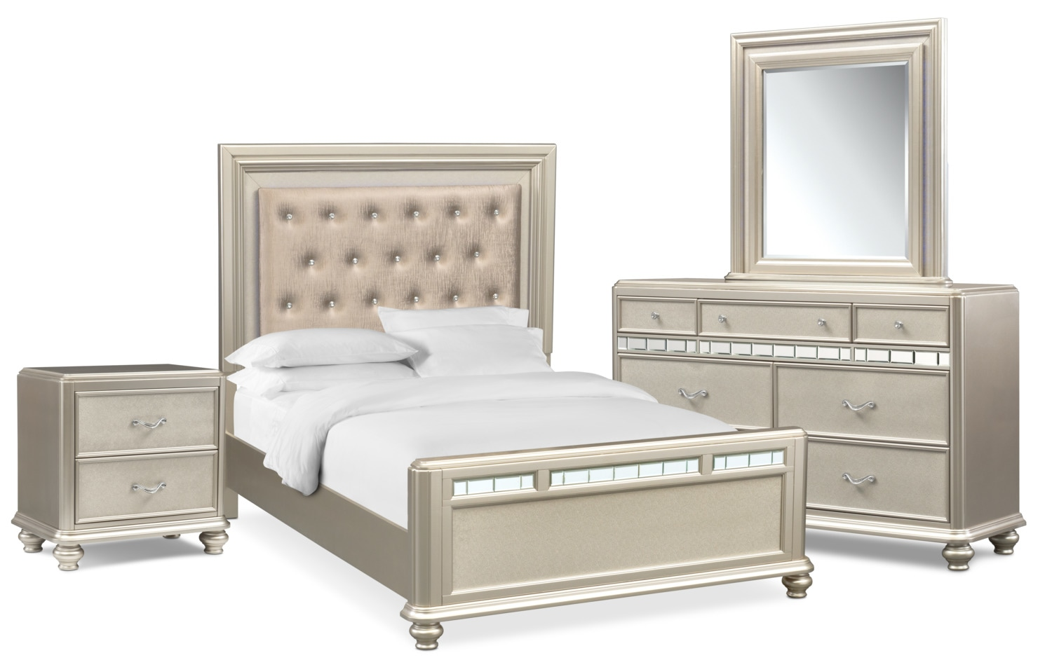 Sabrina 6 Piece Queen Bedroom Set With Nightstand Dresser And Mirror Bedroom Set Bedroom Sets Queen King Bedroom Sets