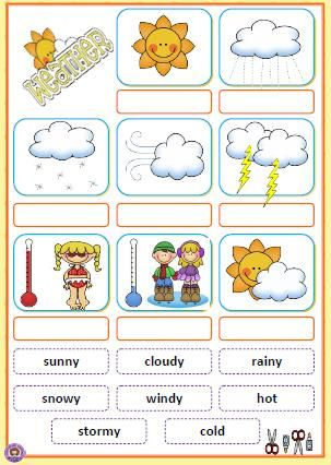 Weather English Lessons For Kids Lessons For Kids Teaching English Kindergarten cut and paste weather